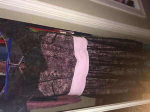 Pink and black formal lace dress