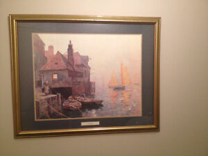 Framed Print , By The Quayside by E.W. Haslehust