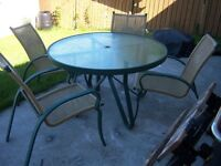 Aluminum Patio Table with 4 chairs and Lounge chair