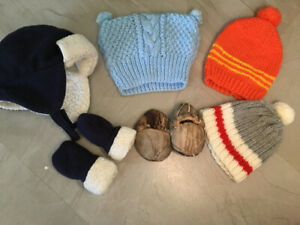 0-6 month hat(x4)and mitts and camo slippers