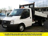 2012 FORD TRANSIT 350/115 SINGLE CAB ONE STOP ALLOY BODY TIPPER WITH ONLY 55.000