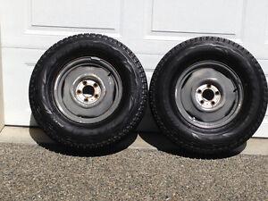 2 Blizzak Snow Tires on Rims