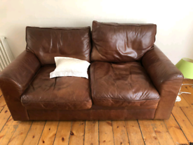 2 SEATER LEATHER BROWN SOFA