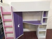 Kids bunk bed with wardrobe and desk