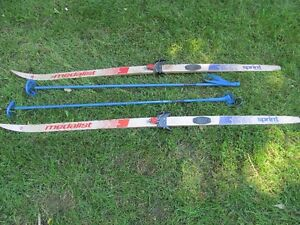 Cross country skis and poles.