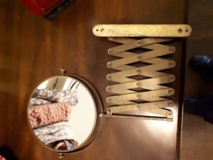 vintage shaving mirror - brass and expandable