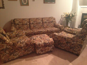 Good condition couch, two chairs and ottoman - FREE