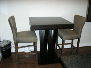 Pub Height Dining Table with 3 Upholstered High Back Chairs