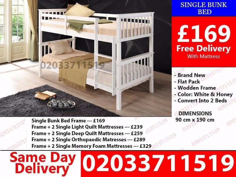 Brand New White Wooden Bunk BedMonte Rioin Chadwell Heath, London - wow today 50%off For Placing An Order Please Call