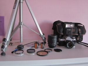 Canon AE-1 Program Film Camera; Lenses, Flash, Bag, Film, Tripod