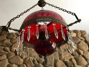 Antique Ruby Red and Crystal Hanging Lamp, Circa Early 1900s