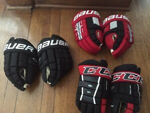 "Bauer/CCM 4 rolls 13""  pro stock hockey gloves"