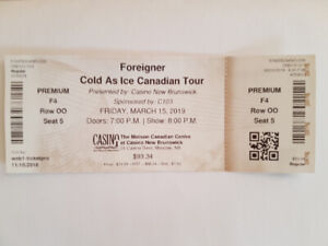 Foreigner concert ticket for sale at cost Rght in front of stage