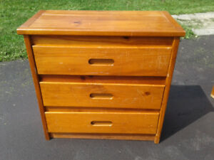 Solid wood three drawer dresser for sale