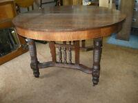 antique round oak dining / office table, tiger oak, restored