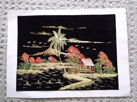 Vintage Handmade Asian Art Bamboo Straw Painting House Palm tree