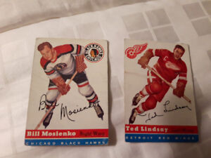 1954-55 TOPPS 2 CARTE HOCKEY - VINTAGE - NÉGOCIABLE