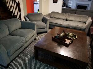 Fabric Sofa - Complete 3-Piece Sofa Set
