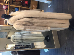 Full length white mink coat with fox collar & trim