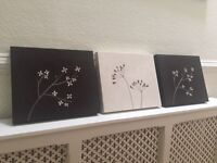 Suede Embroidery Canvas Wall Art Pictures - set of 3