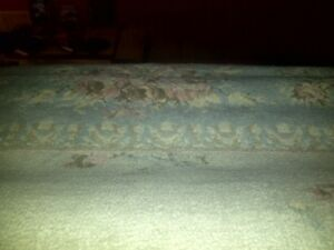 Multi colored area rug. Sizes exact. 7.5 wide x 10.5 long. Hard