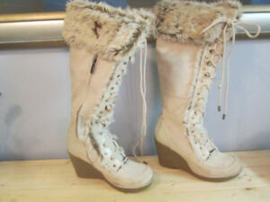 Ladies boots: Suede with fur trim, lace -up. $10.00