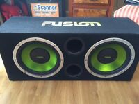 """Fusion subwoofers 2 x12"""" built in amp & wired"""