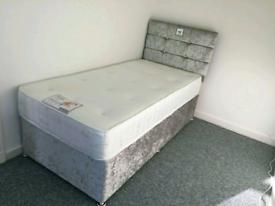 Brand New 3ft (single) Crushed Velvet bed & headboard