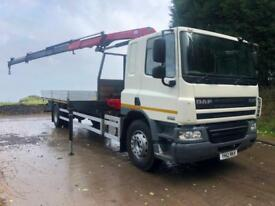 2012 DAF CF 65.250 27ft alloy dropside HMF 910 triple extension remote crane