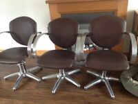 5 REM brown leather adjustable salon chairs