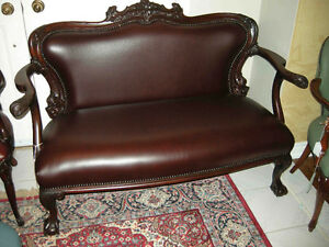 antique cherry wood sofa carved dolphins new leather Oakville / Halton Region Toronto (GTA) image 1