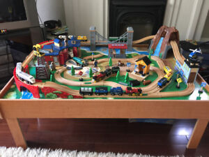 Train Set - Mountain, Bridge, Roundhouse, w/ powered locomotives