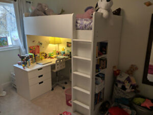 Loft bed with 3 drawers. Ikea Stuva
