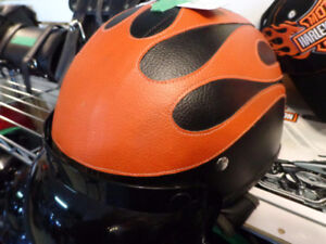 Leather clad helmet- small to med.-  recycledgear.ca