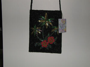 New Price!    Exceptional Hand Beaded Palm Tree Purse