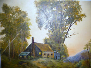 """Vintage Cabin on a Hill by G. Eastman """"Homestead"""" Oil Painting Stratford Kitchener Area image 6"""