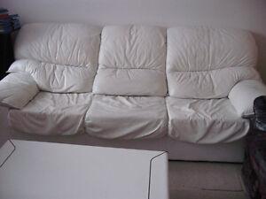 Ensemble de set de salon véritable cuir blanc 9 pièces