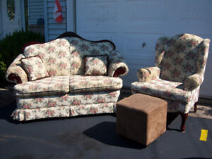 Couch, cushions, chair and footstool