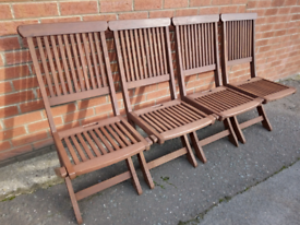4 x Classic Teak Folding Garden / Dining Chairs