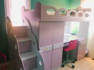 Girls Bunk Bed with Desk, Closet and Chair
