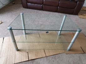 Heavy glass 3 tier tv stand