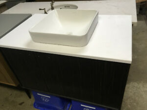 Jute Ebony Wall-Hung Vanity, countertop, sink