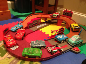 """Cars 2"" track with battery operated cars"