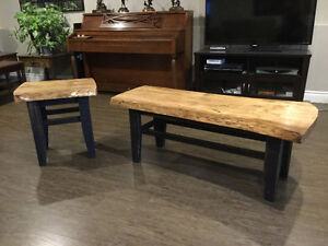 Pine Live Edge Coffee Table And End Table