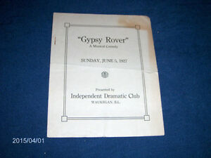 GYPSY ROVER-1927 PROGRAM-BADGERS OF MILWAUKEE-DRAMATIC CLUB