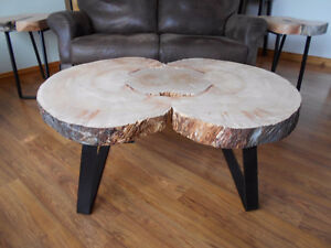 coffee end tables rustic live edge burl