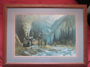 Rocky Mountain Train Framed Art.