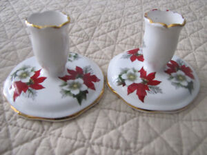 2 FINE BONE CHINA CANDLE HOLDERS