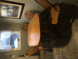 Solid Oak table with 2 leafs and Six chairs for $275.00