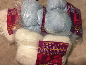 Yarn - factory mill ends in white shimmer and blue shimmer Kitchener / Waterloo Kitchener Area image 1